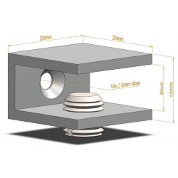 Support d'étagère en C - 20mm - Fixations d'étagères