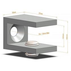 Support d'étagère en C - 27mm - Fixations d'étagères