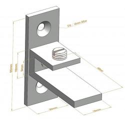 Support d'étagère C Asymétrique sur platine - Fixations d'étagères