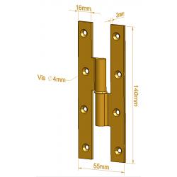 Paumelle Picarde - 140 mm - Paumelles de Bâtiment